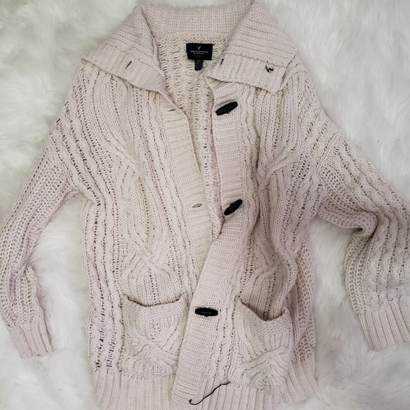 American Eagle Outfitters Sweaters - AE Cream Cable Knit Cardigan